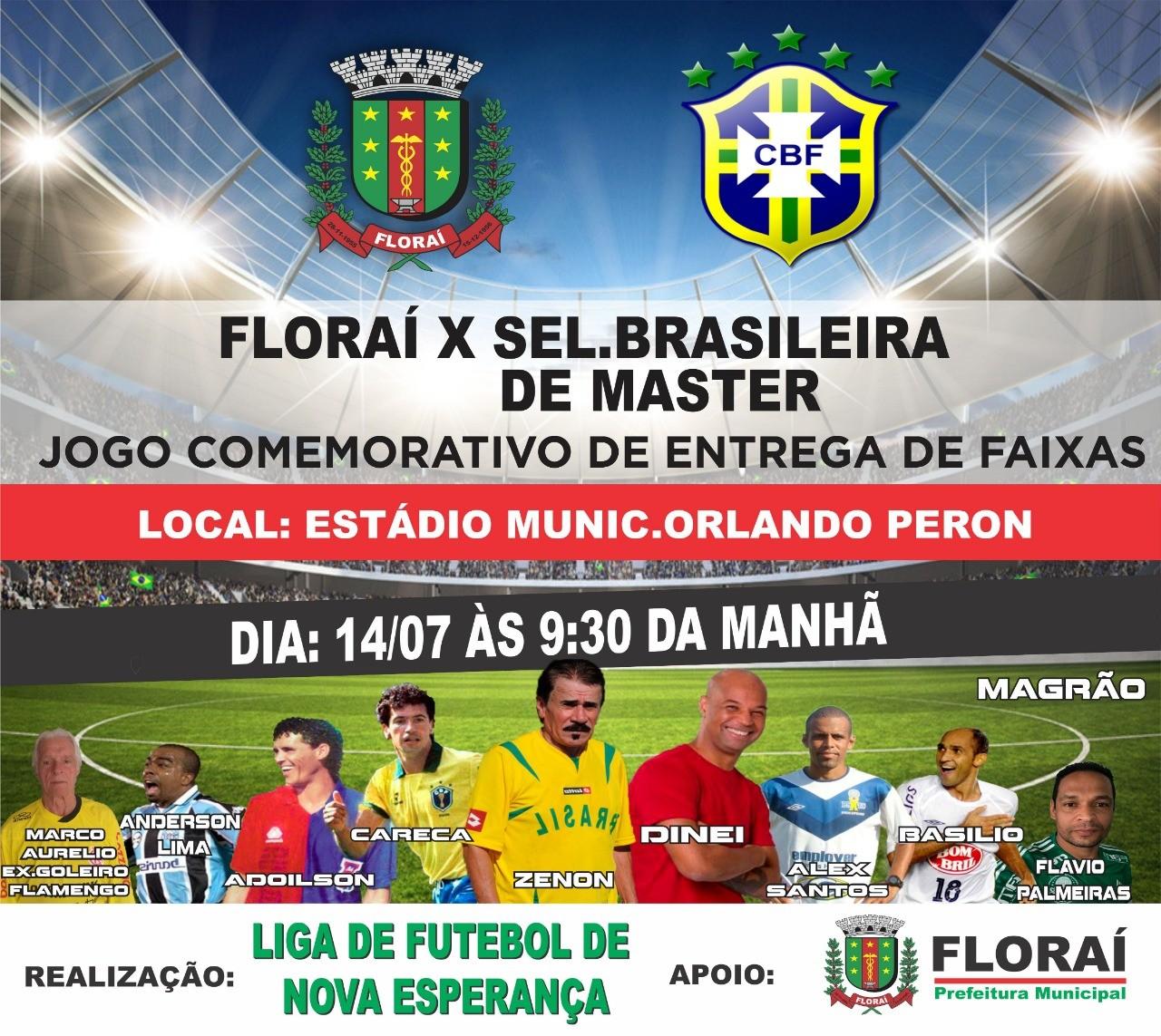 Floraí enfrenta seleção brasileira máster em jogo comemorativo
