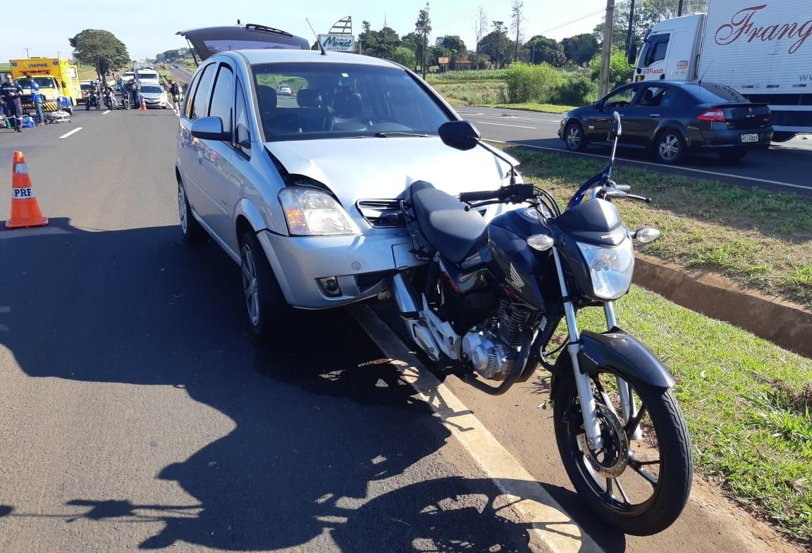 Motociclista fica gravemente ferido em acidente na BR-376