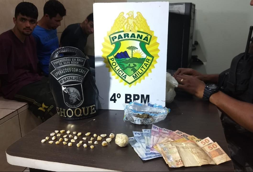 PM faz operação '181 Maringá' e prende três por tráfico de drogas