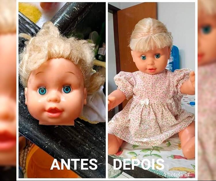 Mulher reforma bonecas descartadas e doa a crianças carentes