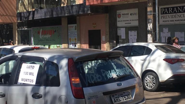 Sindicatos fazem carreata em Maringá contra o volta às aulas