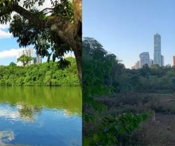 Imagens mostram lago do Parque do Ingá antes e depois da seca: 'É muito grave'