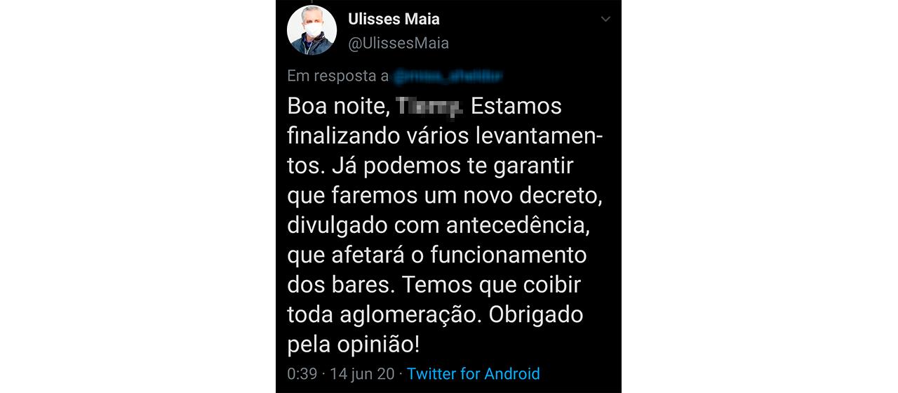 Publicação de Ulisses Maia no Twitter