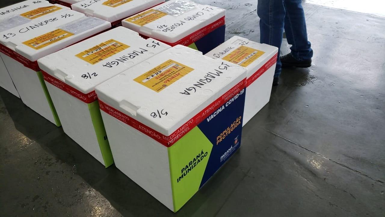 Caixas contendo vacinas destinadas à 15ª Regional de Saúde de Maringá (foto: Geraldo Bubniak/AEN)