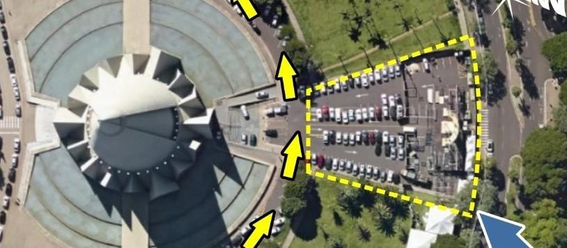 Estacionamento no entorno da Catedral está parcialmente interditado