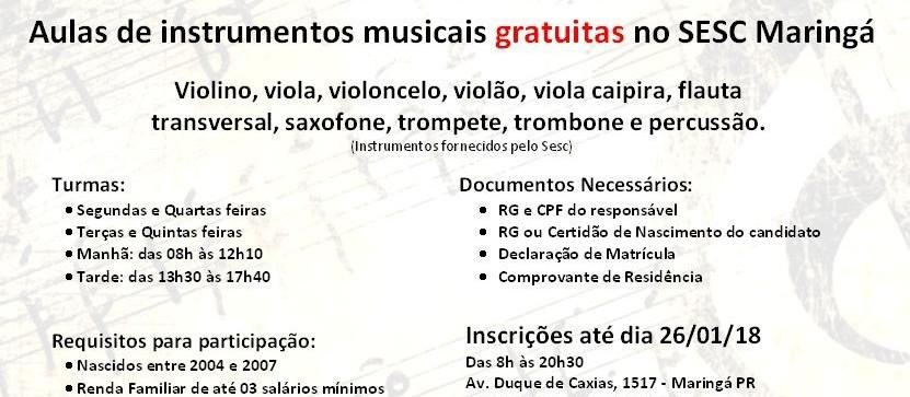 Sesc oferece aulas gratuitas de instrumentos musicais