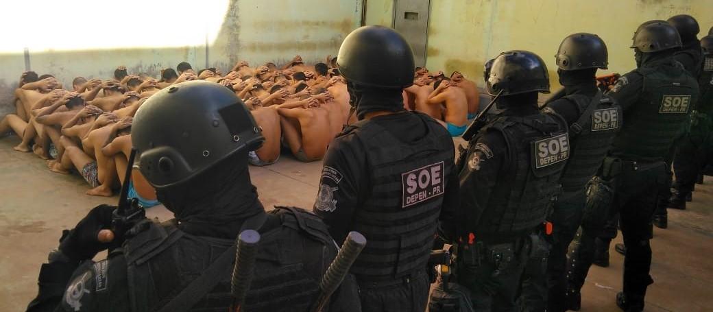 SOE Maringá realiza revista geral na Casa de Custódia de Maringá