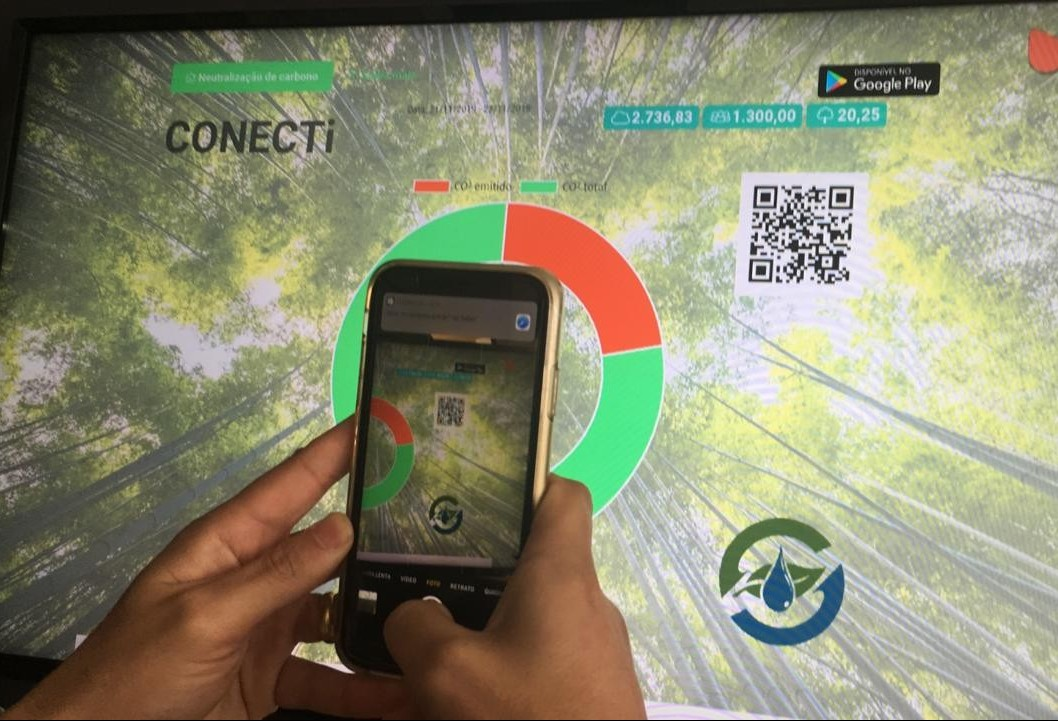 Evento calcula produção de CO2 e visitantes acompanham em tempo real