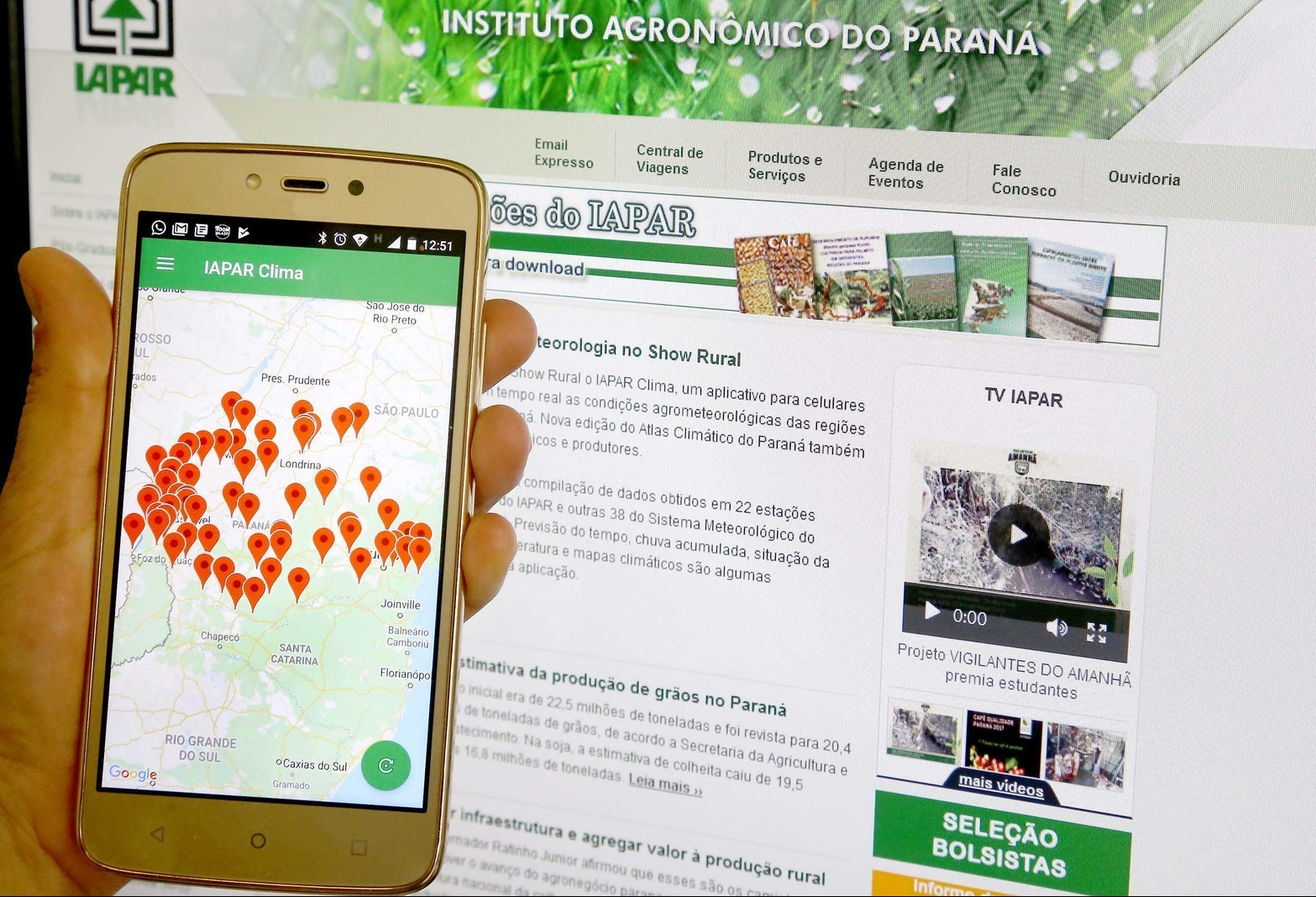 Iapar e Simepar lançam app que divulga informações meteorológicas e geadas