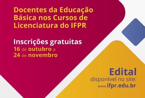 IFPR seleciona professores da educação básica para cursos  gratuitos de licenciatura