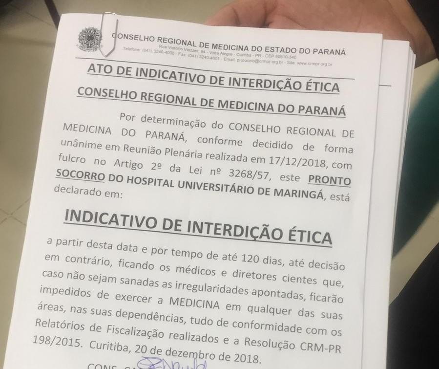 CRM faz indicativo de interdição ética do pronto-socorro do HU