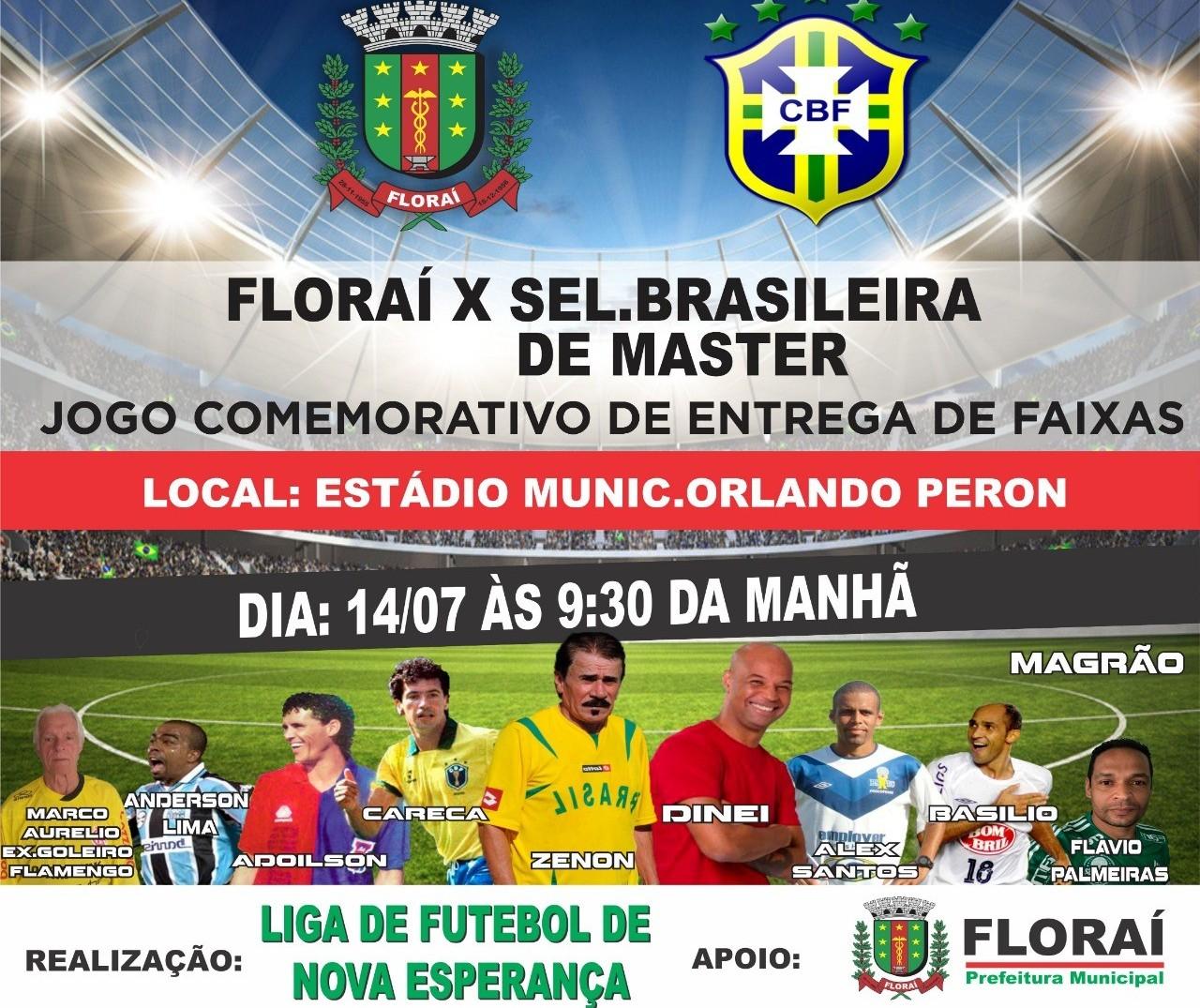 Floraí enfrenta seleção brasileira master em jogo comemorativo