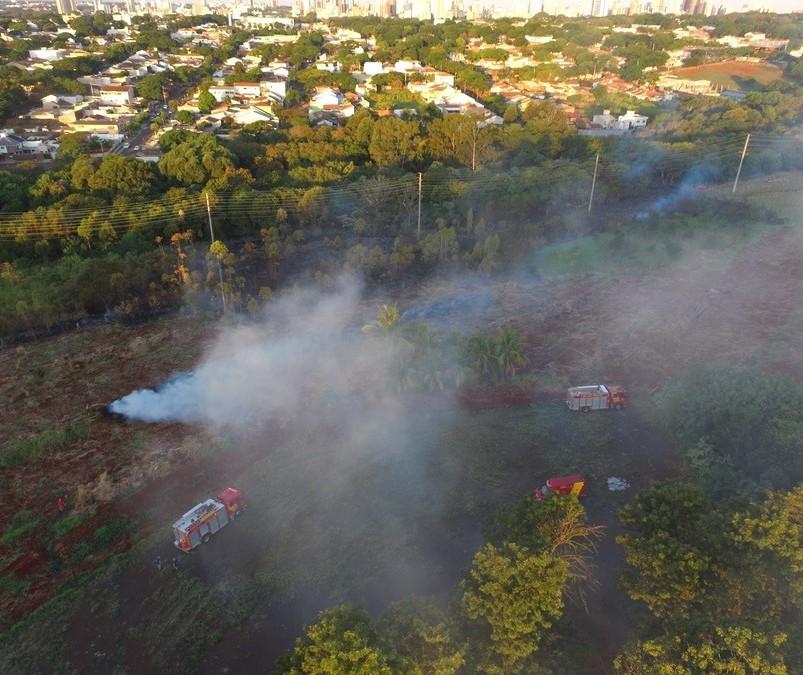 Em Maringá, incêndio destrói 15 mil m² de vegetação