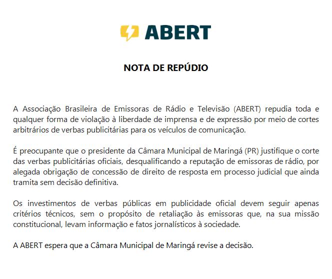 Associações de rádio e TV repudiam perseguição política sofrida pelo Grupo Maringá de Comunicação